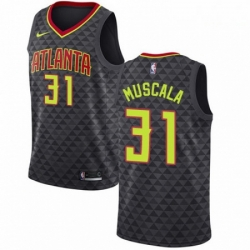 Mens Nike Atlanta Hawks 31 Mike Muscala Swingman Black Road NBA Jersey Icon Edition