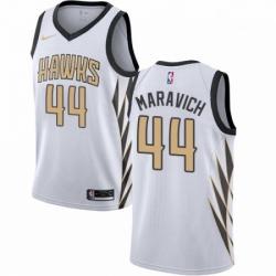 Mens Nike Atlanta Hawks 44 Pete Maravich Swingman White NBA Jersey City Edition