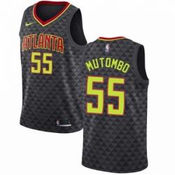 Mens Nike Atlanta Hawks 55 Dikembe Mutombo Authentic Black Road NBA Jersey Icon Edition