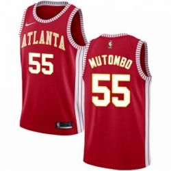 Mens Nike Atlanta Hawks 55 Dikembe Mutombo Authentic Red NBA Jersey Statement Edition