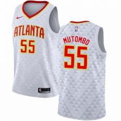 Mens Nike Atlanta Hawks 55 Dikembe Mutombo Authentic White NBA Jersey Association Edition