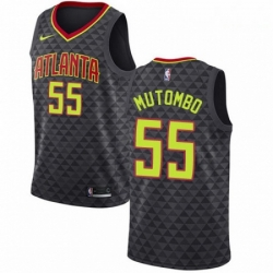 Mens Nike Atlanta Hawks 55 Dikembe Mutombo Swingman Black Road NBA Jersey Icon Edition