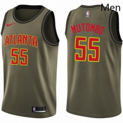 Mens Nike Atlanta Hawks 55 Dikembe Mutombo Swingman Green Salute to Service NBA Jersey