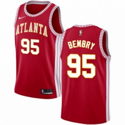 Mens Nike Atlanta Hawks 95 DeAndre Bembry Authentic Red NBA Jersey Statement Edition