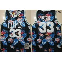 Celtics Bape 33 Larry Bird Black 1985 86 Hardwood Classics Floral Fashion Swingman Jersey