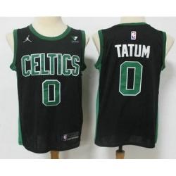 Men Boston Celtics 0 Jayson Tatum Black 2021 Brand Jordan Swingman Stitched NBA Jersey With NEW Sponsor Logo