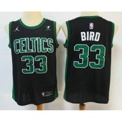 Men Boston Celtics 33 Larry Bird Black 2021 Brand Jordan Swingman Stitched NBA Jersey With NEW Sponsor Logo