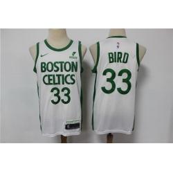 Men Boston Celtics 33 Larry Bird White 2021 Nike City Edition Swingman Stitched NBA Jersey With The Sponsor Logo