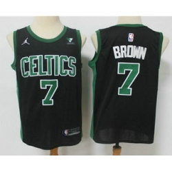 Men Boston Celtics 7 Jaylen Brown Black 2021 Brand Jordan Swingman Stitched NBA Jersey With NEW Sponsor Logo