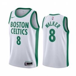 Men Boston Celtics 8 Kemba Walker White 2020 21 City Edition Swin