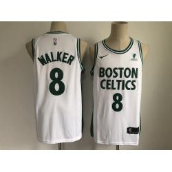 Men Boston Celtics 8 Kemba Walker White 2021 Nike City Edition Swingman Stitched NBA Jersey