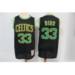 Men Boston Celtics Bape 33 Larry Bird Black Hardwood Classics Jersey