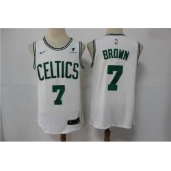 Men Boston Celtics Jaylen Brown 7 White NBA New Nike Swingman jersey