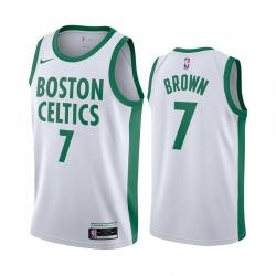 Men Nike Boston Celtics 7 Jaylen Brown White NBA Swingman 2020 21 City Edition Jersey