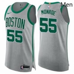 Mens Nike Boston Celtics 55 Greg Monroe Authentic Gray NBA Jersey City Edition