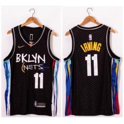 Men Brooklyn Nets 11 Kyrie Irving Black 2021 Nike Swingman Jersey