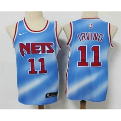 Men Brooklyn Nets 11 Kyrie Irving Blue 2020 21 Hardwood Classics Stitched NBA Jersey