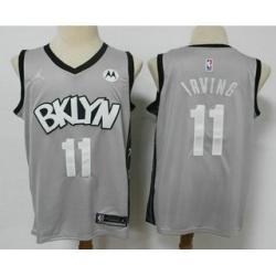 Men Brooklyn Nets 11 Kyrie Irving Light Grey 2021 Brand Jordan Swingman Stitched NBA Jersey With NEW Sponsor Logo