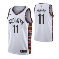 Men Brooklyn Nets 11 Kyrie Irving Swingman Black Basketball Jersey 2018 19 City Edition