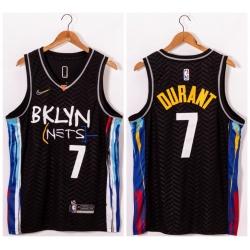 Men Brooklyn Nets 7 Kevin Durant Black 2021 Nike Swingman Jersey