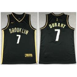 Men Brooklyn Nets 7 Kevin Durant Black Gold 2021 Nike Swin
