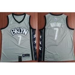 Men Brooklyn Nets 7 Kevin Durant Gray Nike Swingman Jersey
