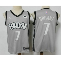 Men Brooklyn Nets 7 Kevin Durant Light Grey 2021 Brand Jordan Swingman Stitched NBA Jersey With NEW Sponsor Logo
