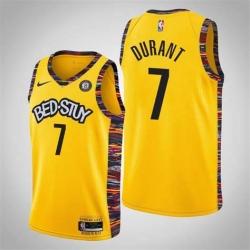 Men Nike Brooklyn Nets Kevin Durant 7 Yellow Nike Game NBA Jerseys