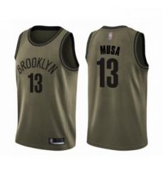Mens Brooklyn Nets 13 Dzanan Musa Swingman Green Salute to Service Basketball Jersey