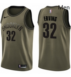 Mens Nike Brooklyn Nets 32 Julius Erving Swingman Green Salute to Service NBA Jersey
