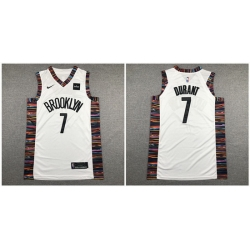 Nets 7 Kevin Durant White City Edition Nike Authentic Jersey