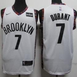 Nets 7 Kevin Durant White City Edition Nike Swingman Jersey