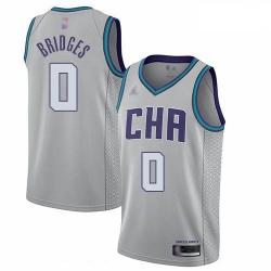 Hornets 0 Miles Bridges Gray Basketball Jordan Swingman City Edition 2019 20 Jersey