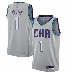 Hornets 1 Malik Monk Gray Basketball Jordan Swingman City Edition 2019 20 Jersey