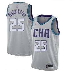 Hornets 25 PJ Washington Gray Basketball Jordan Swingman City Edition 2019 20 Jersey
