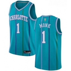 Men Aqua Malik Monk Men Jersey 1 Authentic Charlotte Hornets Basketball Hardwood Classics