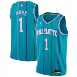 Men Nike Charlotte Hornets 1 Malik Monk Aqua NBA Jordan Swingman Hardwood Classics Jersey