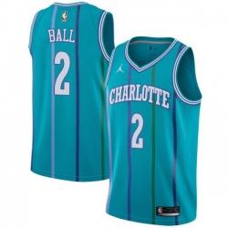 Men Nike Charlotte Hornets 2 LaMelo Ball Aqua NBA Jordan Swingman Hardwood Classics Jersey