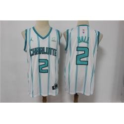 Men Nike Charlotte Hornets 2 LaMelo Ball White NBA Jordan Swingman 2021 Jordan Brand Jersey