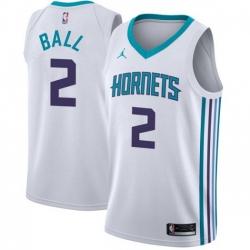 Men Nike Charlotte Hornets 2 LaMelo Ball White NBA Jordan Swingman Association Edition Jersey