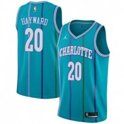 Men Nike Charlotte Hornets 20 Gordon Hayward Aqua NBA Jordan Swingman Hardwood Classics Jersey