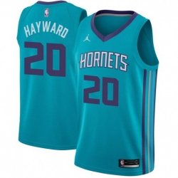 Men Nike Charlotte Hornets 20 Gordon Hayward Teal NBA Jordan Swingman Icon Edition Jersey
