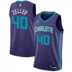 Men Nike Charlotte Hornets 40 Cody Zeller Purple NBA Jordan Swingman Statement Edition Jersey