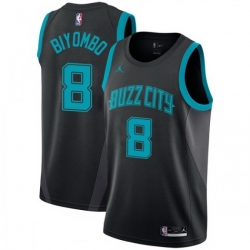 Men Nike Charlotte Hornets 8 Bismack Biyombo Black NBA Jordan Swingman City Edition 2018 19 Jersey