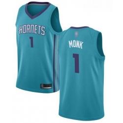 Men Teal Malik Monk Men Jersey #1 Authentic Charlotte Hornets Basketball Icon Edition