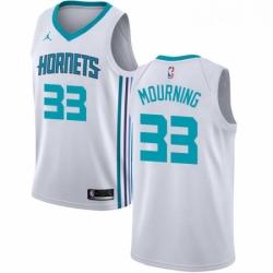 Womens Nike Jordan Charlotte Hornets 33 Alonzo Mourning Swingman White NBA Jersey Association Edition
