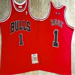 Bulls 1 Derrick Rose Red 2008 09 Hardwood Classics Jersey