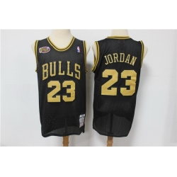 Men Chicago Bulls 23 Michael Jordan Black Gold NBA Finals Patch Jersey