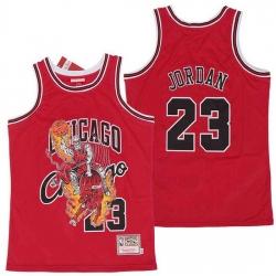 Men Chicago Bulls 23 Michael Jordan skeleton red Jersey