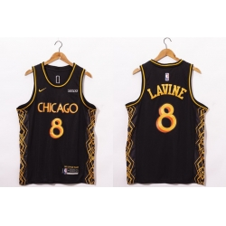 Men Chicago Bulls 8 Zach LaVine NEW Black Nike 2021 Swingman City Edition Jersey